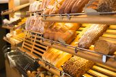 stock photo of confectioners  - bread and different types of bakery products - JPG