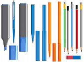 Vector Illustration Of Set Of Different Pens