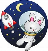 Rocket Ship Bunny Rabbit Cartoon Character