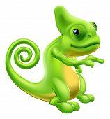 Chameleon Maskottchen zeigen