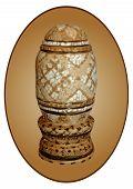 Pt-Páscoa Ovo madeira concha incrustada em uma cartela Oval