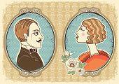 Vintage Gentleman And Woman Face Portraits.vector Illustration