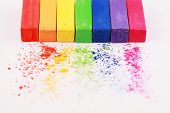 image of rainbow piano  - Multi colour pastel chalks macro shot background - JPG