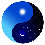 Day and night in the symbol of Yin and Yang