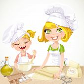Mom and daughter baking cookies isolated on white background