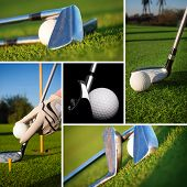 Golf images in a beautiful collage