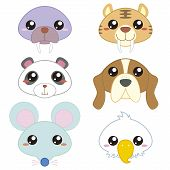 stock photo of saber tooth tiger  - the six cute cartoon animal head icons - JPG