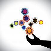 image of cogwheel  - Abstract colorful cogwheels graphic controlled by hand - JPG