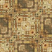 image of motif  - art vintage geometric ornamental pattern in light brown and green colors - JPG