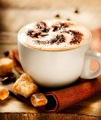 stock photo of cocoa beans  - Cappuccino - JPG