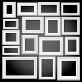vector illustration of sixteen blank white frames
