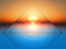 stock photo of triangular pyramids  - conceptual composition on spirituality in 3 d rendering - JPG