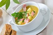 image of meals wheels  - Freshly made potato soup with bacon strips and Vienna sausage wheels - JPG