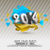 Stylish Happy New Year 2014 celebration flyer, banner, poster or invitation with stylish text on col