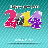 Stylish Happy New Year 2014 celebration flyer, banner, poster or invitation with glossy colorful tex