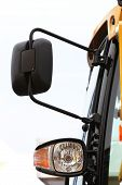 Semi Truck Mirror And Headlight Detail
