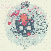 Bright concept card in vector. Stylish traditional composition with scull, bird and flowers in vinta