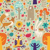 Stylish floral seamless pattern with forest animals: bear, fox, owl, rabbit. Vector background with butterflies, snail, trees and flowers in bright colors.