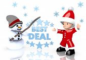 Best Deal Sign Presented By Snowman And Santa Claus