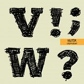 art sketched stylized alphabet in vector, black grungy ink font, signs V, W, point, comma, exclamati
