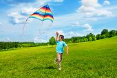 stock photo of kites  - Little boy in blue shirt running with kite in the field on summer day in the park - JPG