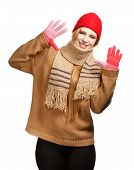 Smiling Woman In Winter Clothing