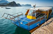 Pleasure Boat With Glass Bottom Floats Moored In Adriatic Sea Water