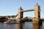 Replica Of A 19Th Century Mississippi Paddleboat Passing Though Tower Bridge, London