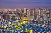 View of Tokyo, Japan over Tsukiji Fish Market.