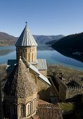 Georgian Castle Ananuri And Mountain Scene
