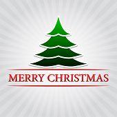Merry Christmas With Christmas Tree Over Silver Rays