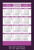 Purple Pocket Calendar 2014