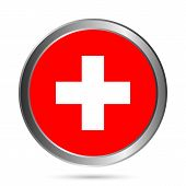 Swiss Flag Button.