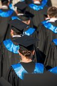 stock photo of rear-end  - Rear view of a group of college graduates - JPG