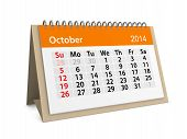 Monthly Calendar For New Year 2014. October