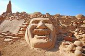 Fantastic Sand Sculpture With Head Of Einstein