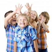 Kids play and have fun together. Children playing over white background