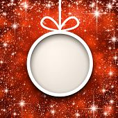 Christmas paper ball over red winter abstract background. Vector illustration with snowflakes and sparkles.