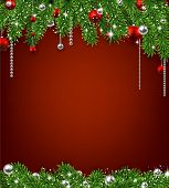 Christmas red background with fir twigs and balls. Vector illustration.