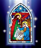 Vector image of the stained glass window depicting Christmas scene against a luminescent blue backgr