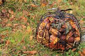 Metal pumpkin filled with potpourri