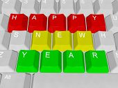 Happy New Year computer keys