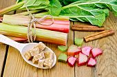 Rhubarb With Sugar And Cinnamon On The Board