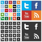 Red social plano multi coloreada iconos
