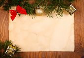 Rustic Paper With Small Christmas Decorations