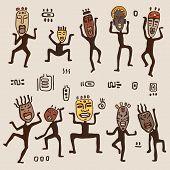 Dancing figures wearing African masks.