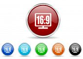 16 9 display icon set