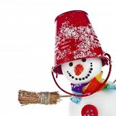 Cheerful snowman with red color bucket on his head and broom in hand isolated on white background