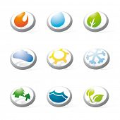 Collection of nine three-dimensional circular icons related to nature, weather, energy and environme