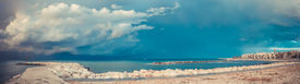 pic of mola  - Storm over the harbor in Mola di Bari south of Italy